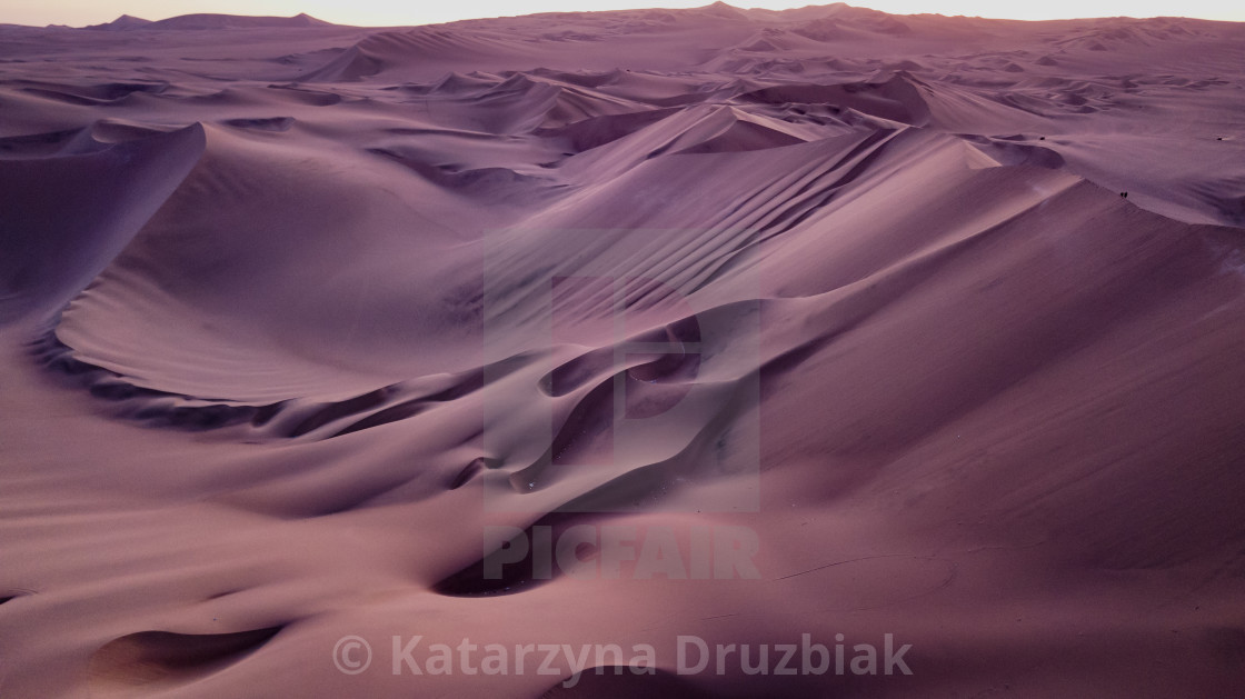"""Sand dunes during the sunset"" stock image"
