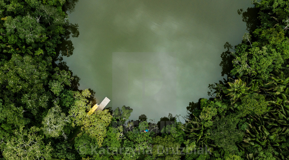 """""""Aerial view on a lake surrounded by tropical amazon rainforest with a yellow boat and pier."""" stock image"""