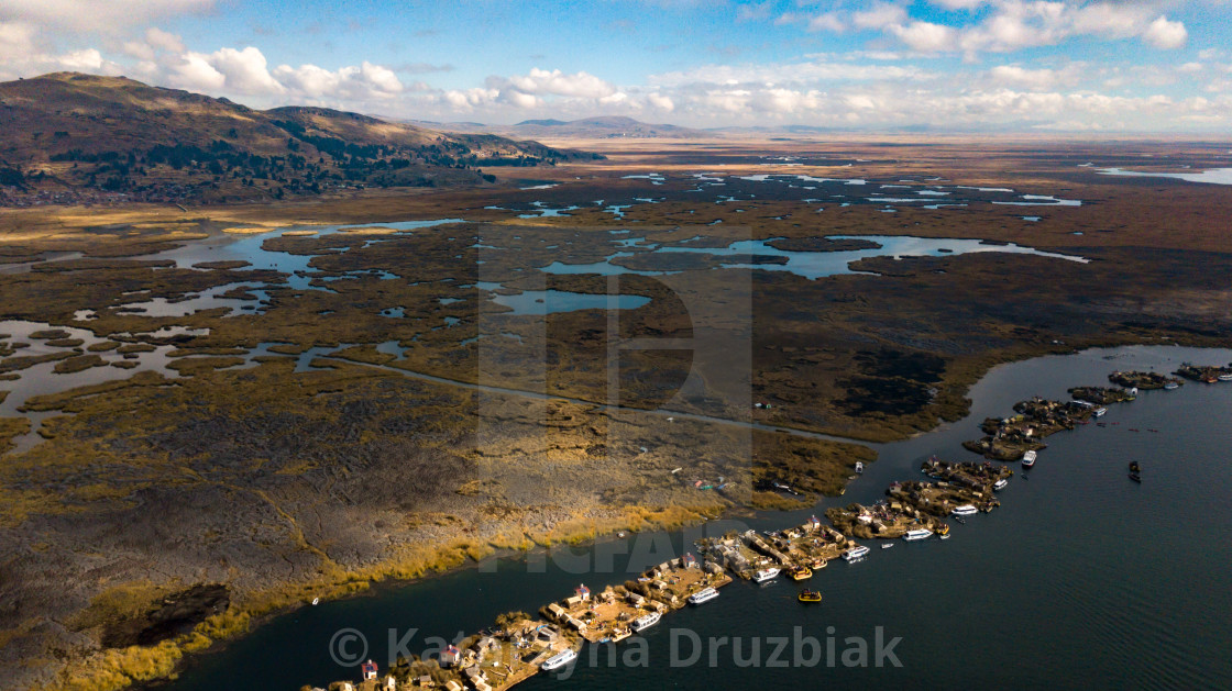 """""""Aerial high view of Uros floating islands settlements"""" stock image"""