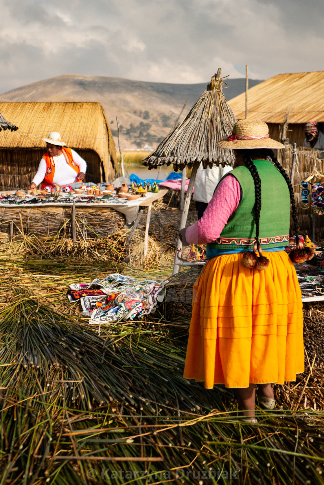 """The Uros community showing off their handcrafts"" stock image"