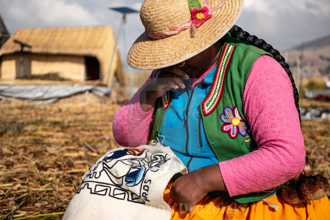 """""""The Uros community showing off their handcrafts"""" stock image"""