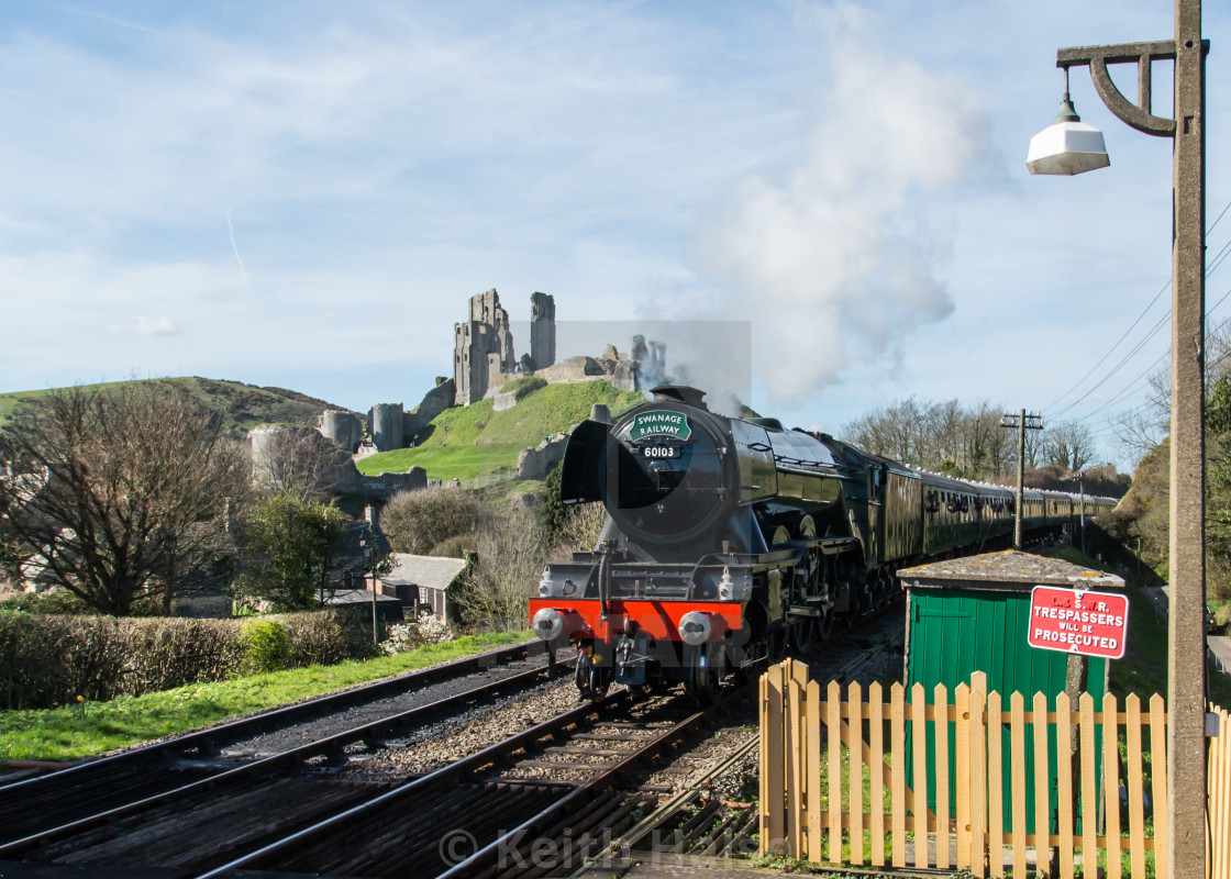 """""""Flying Scotsman approaching Corfe Castle Station"""" stock image"""