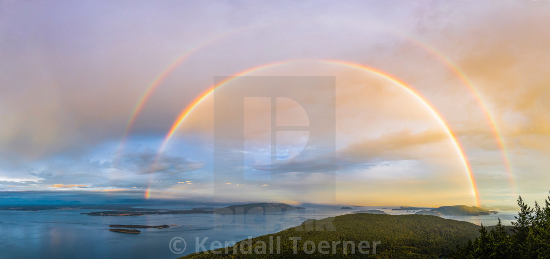 """San Juan Islands Double Rainbow"" stock image"