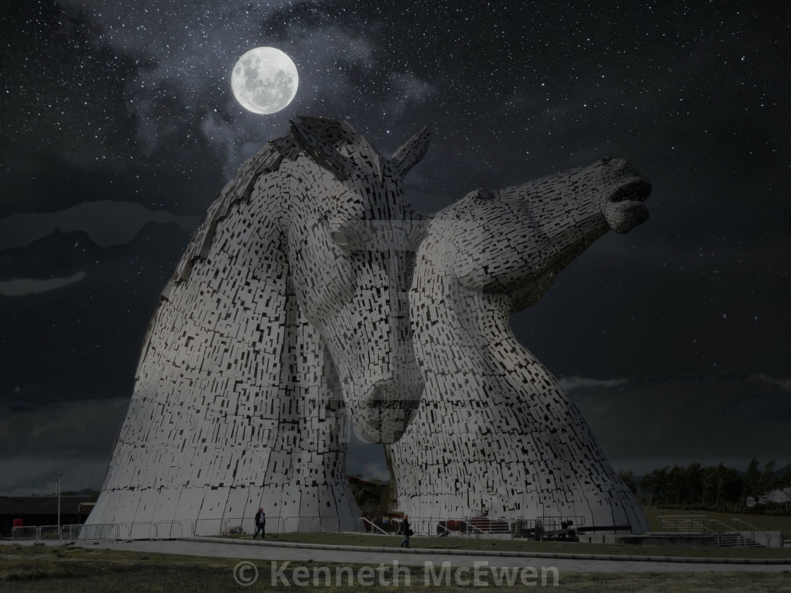 """The Kelpies in moonlight"" stock image"