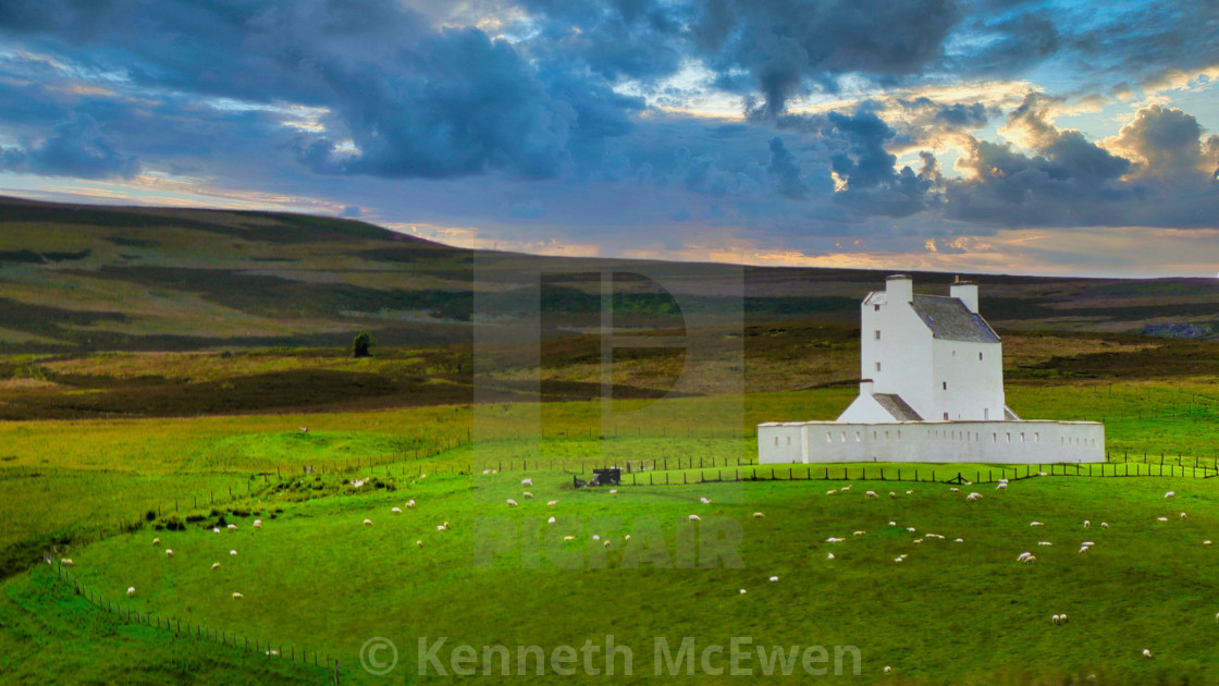 """The distinctive white Corgarff Castle"" stock image"