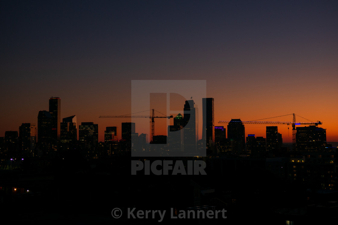 """""""Downtown after Sunset"""" stock image"""