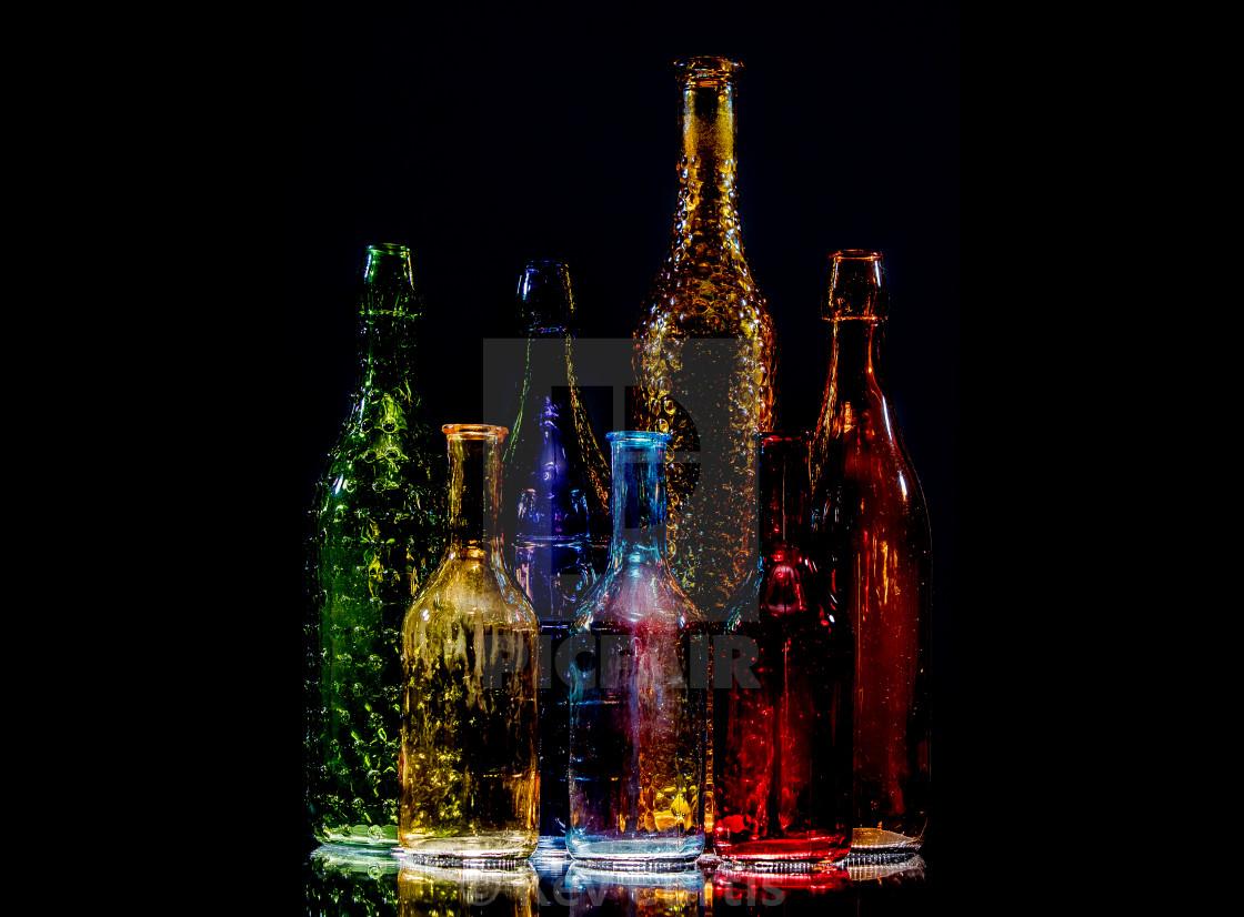 """""""Coloured glass bottles 3"""" stock image"""