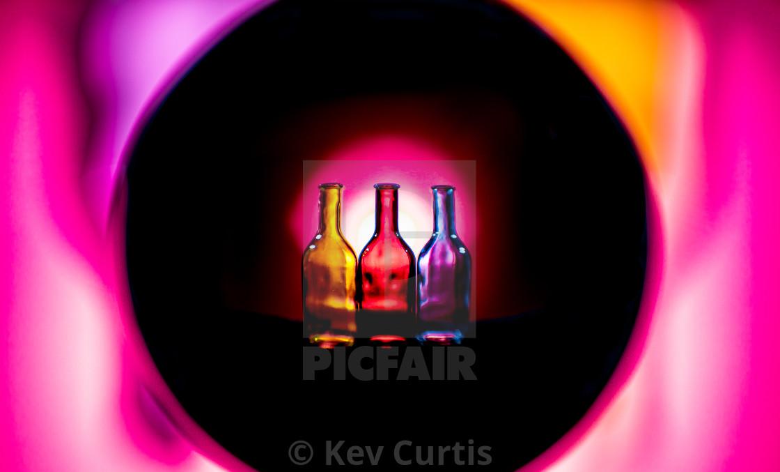 """""""Coloured glass bottles 6"""" stock image"""