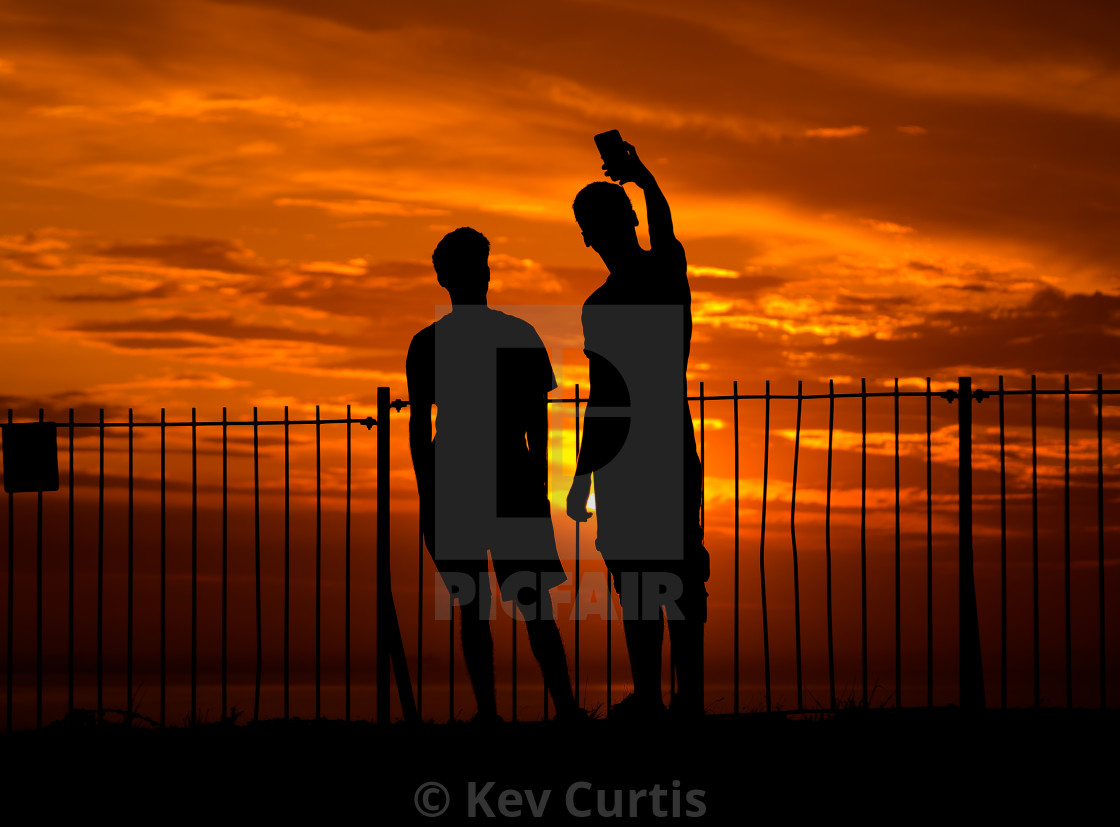 """Sunset selfie"" stock image"