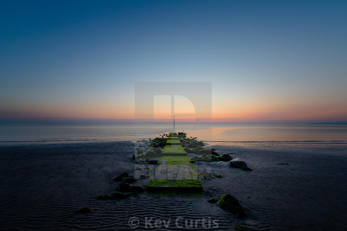 """Dawn over Colwyn Bay"" stock image"