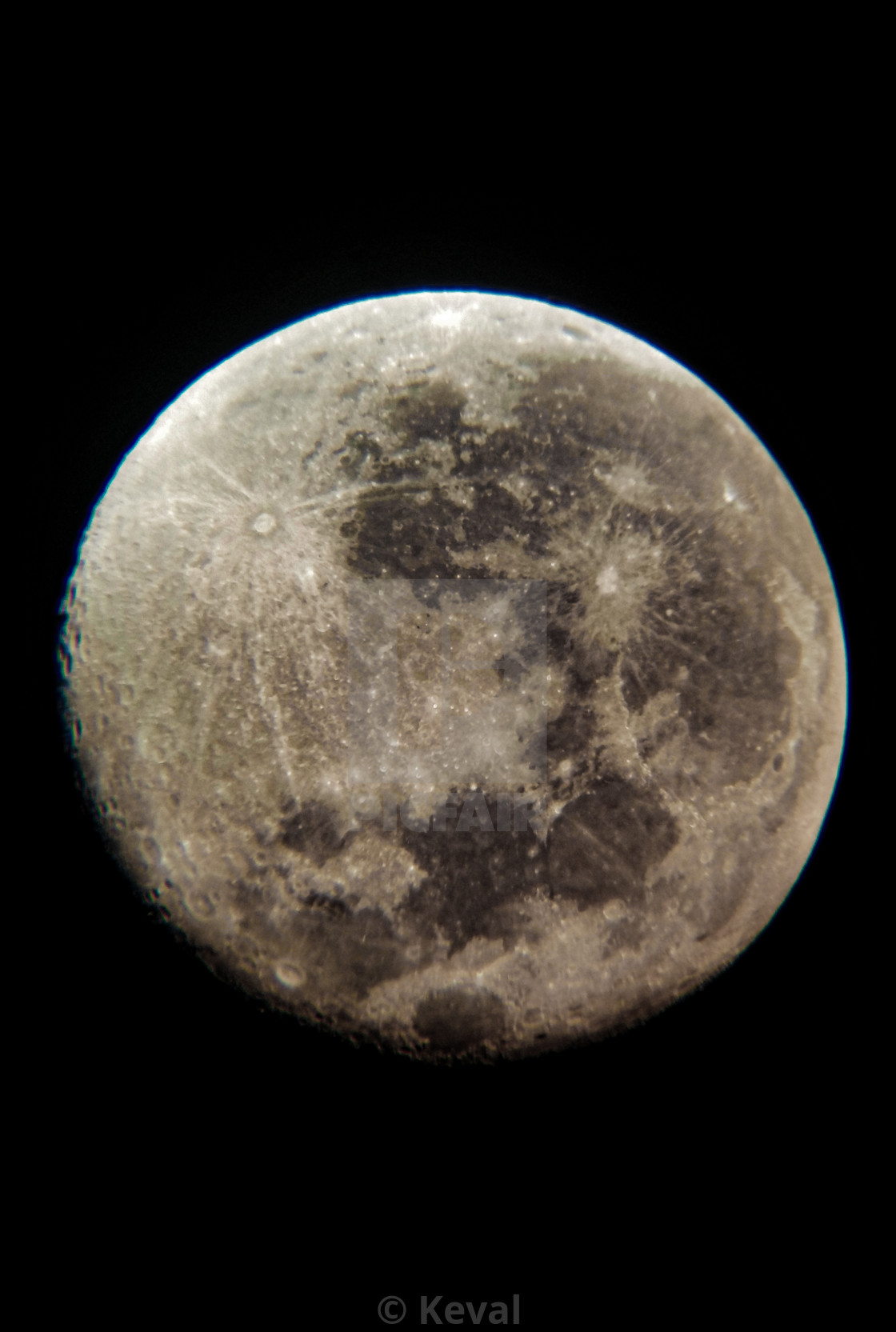 """""""Moon - as seen from an old telescope"""" stock image"""