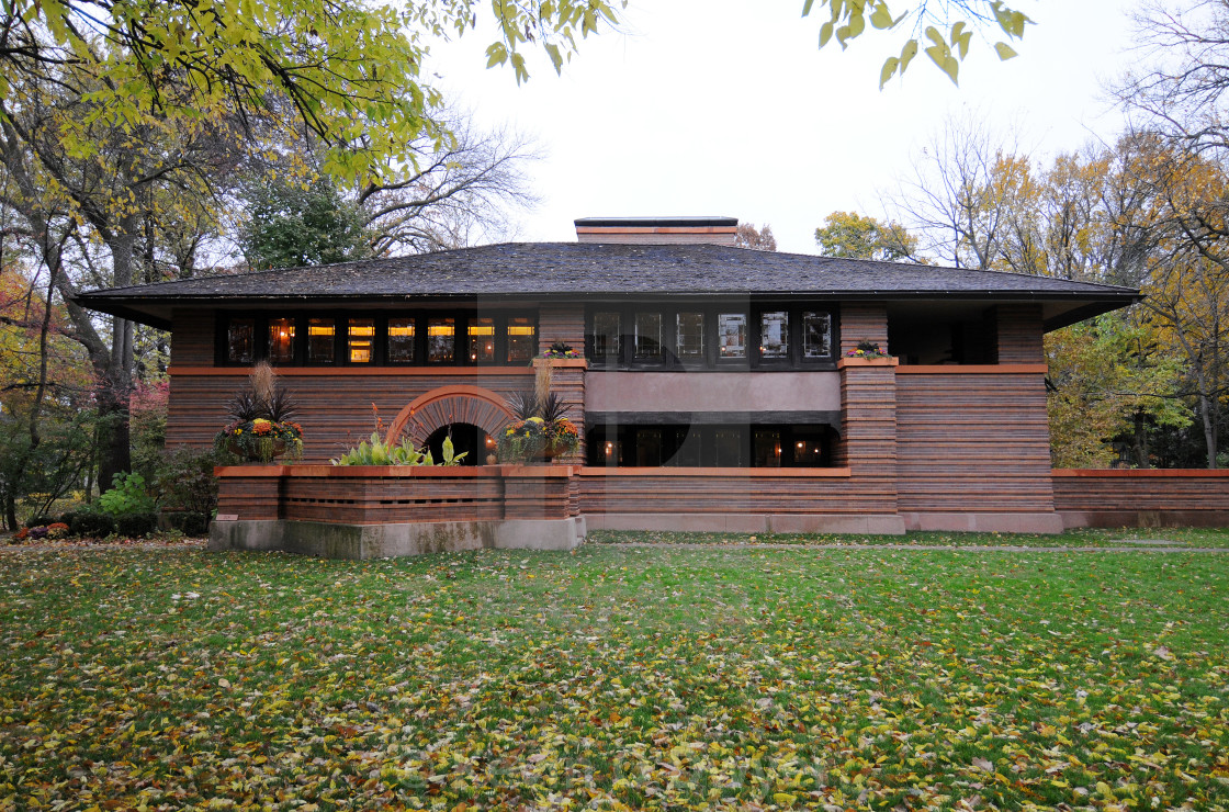 """Heurtley House, Oak Park. Designed by Frank Lloyd Wright"" stock image"