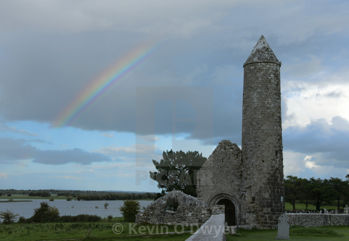 """Rainbow on the River Shannon, Clonmacnoise"" stock image"