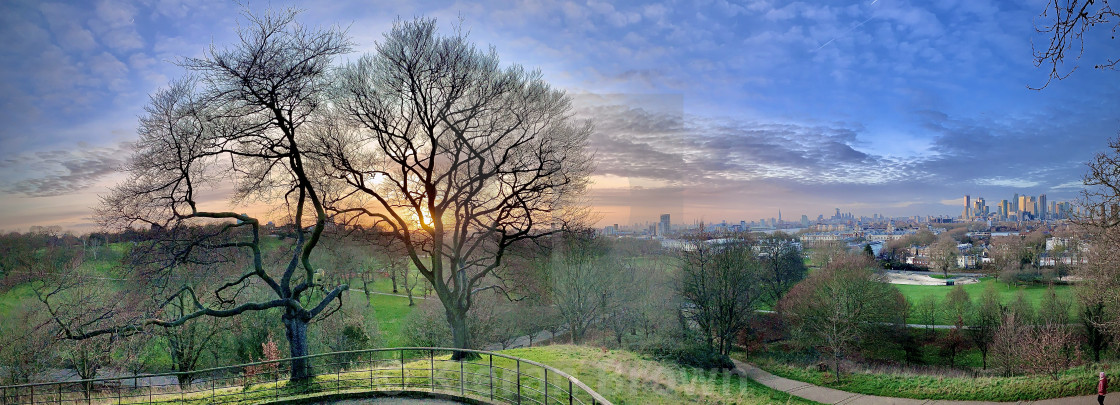"""""""Sunset over Greenwich"""" stock image"""