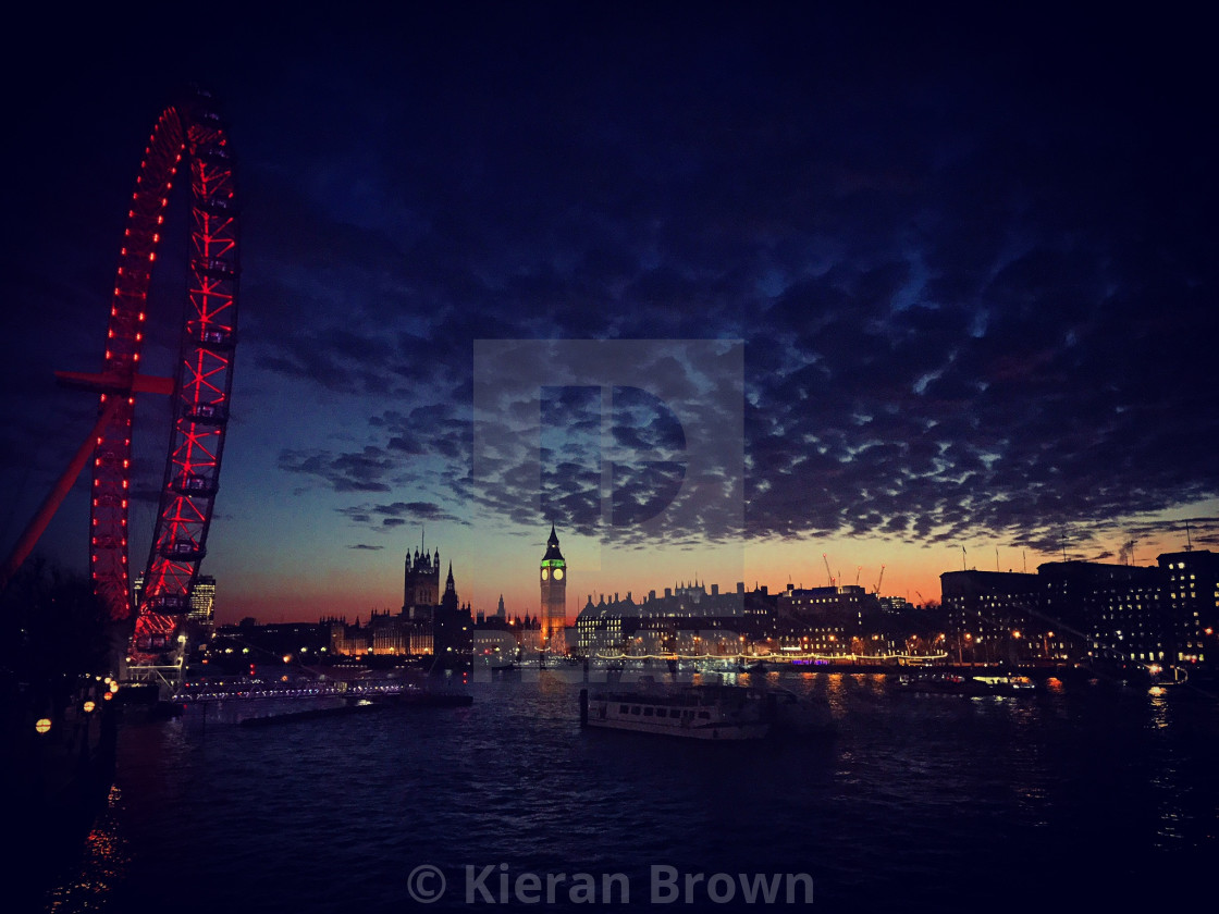 """""""Mottled clouds over London after sunset"""" stock image"""