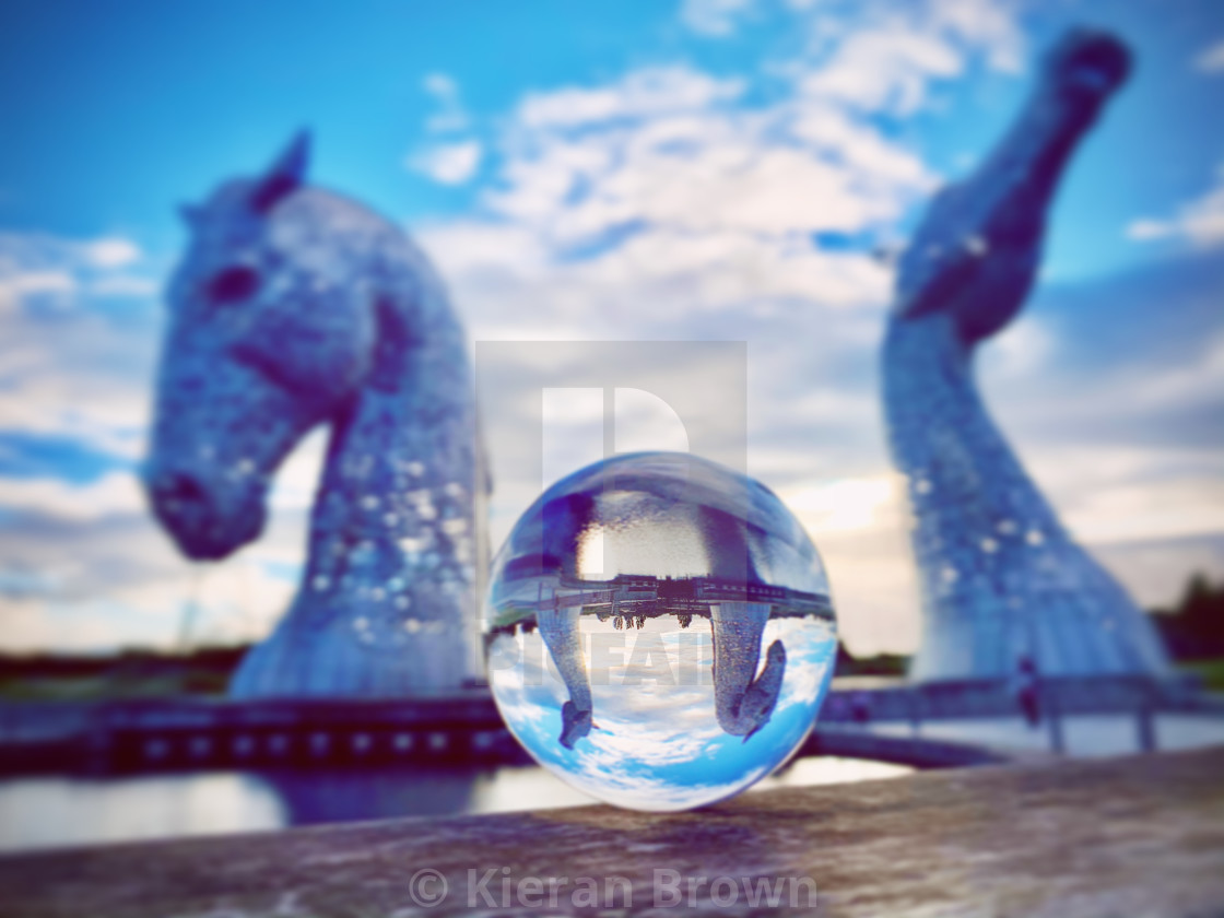 """Cool Colours Sunset Kelpies Zoom"" stock image"