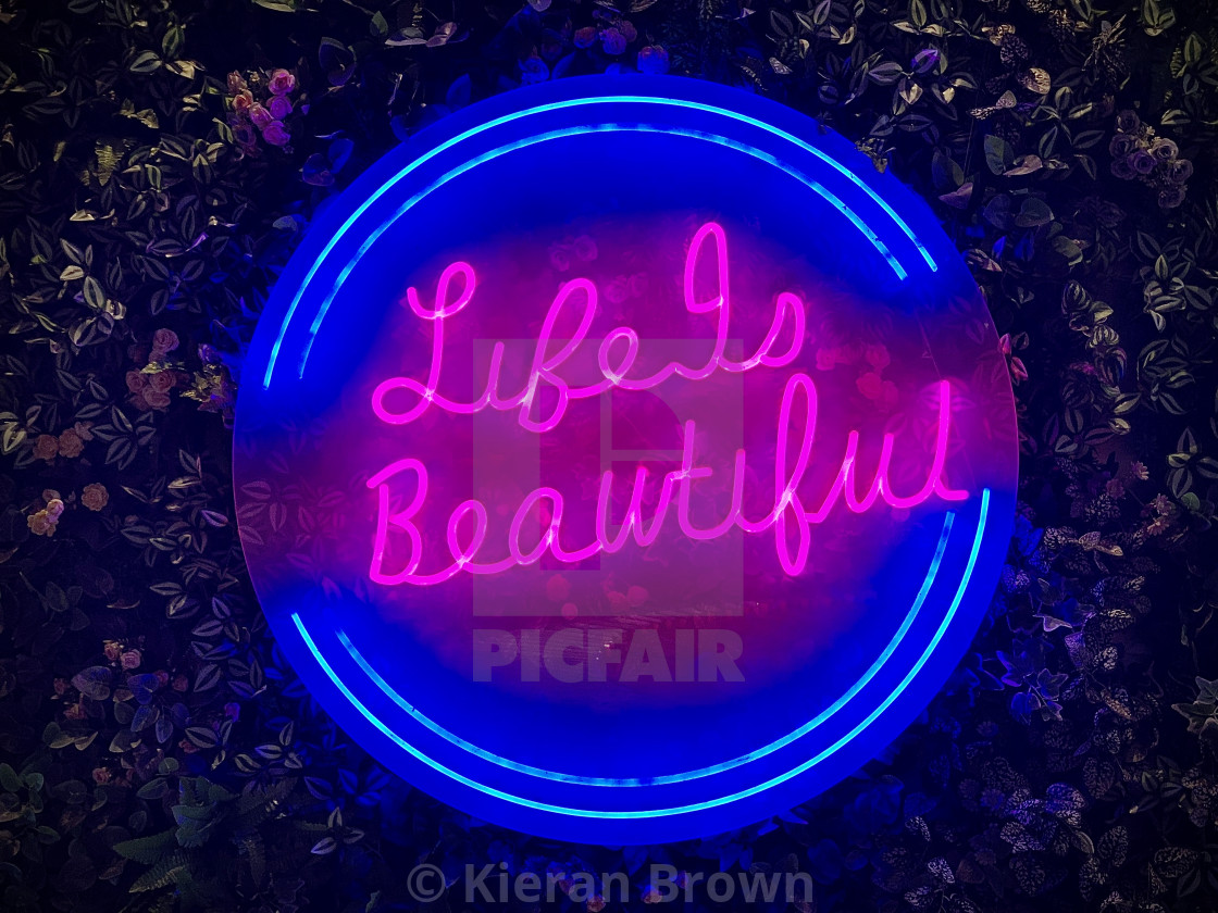 """Life Is Beautiful... In Neon"" stock image"
