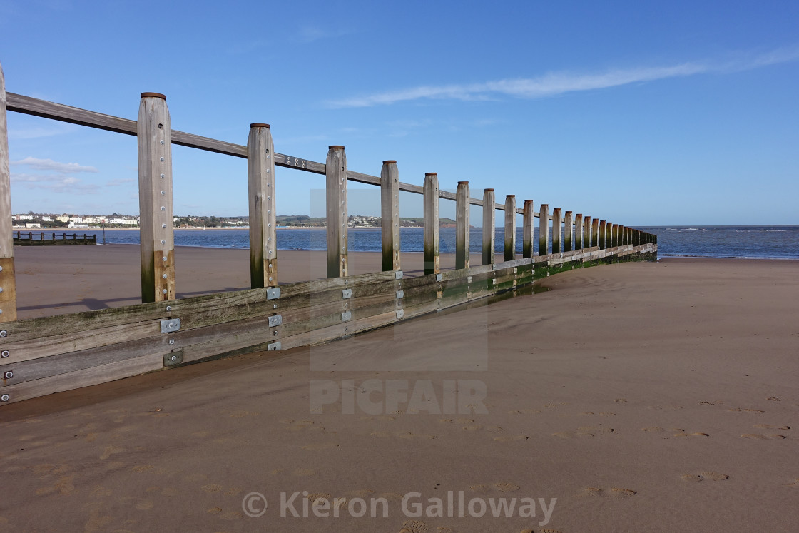 """UK Beach Groin Scene Devon"" stock image"
