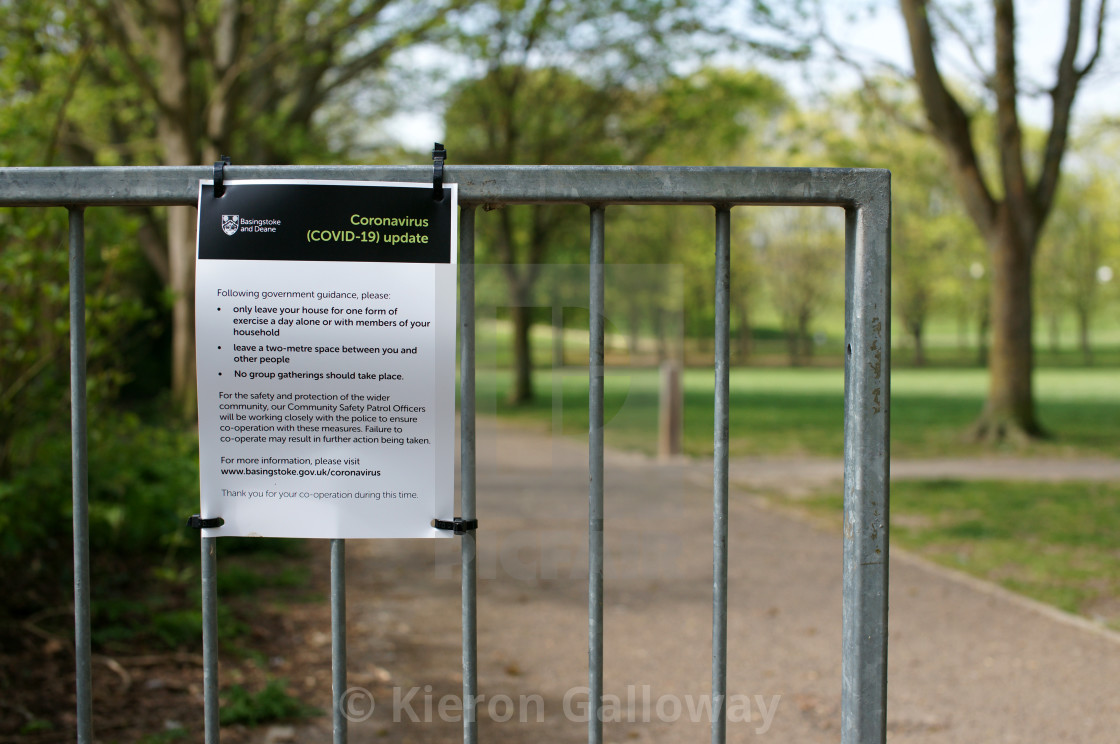 """""""COVID-19 UK Lockdown Rules Poster First Wave Public Park"""" stock image"""