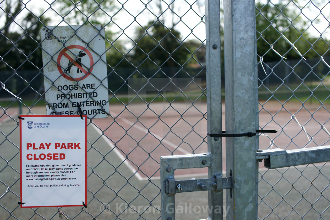 """COVID-19 UK Lockdown Rules Poster First Wave Play Park Sports"" stock image"