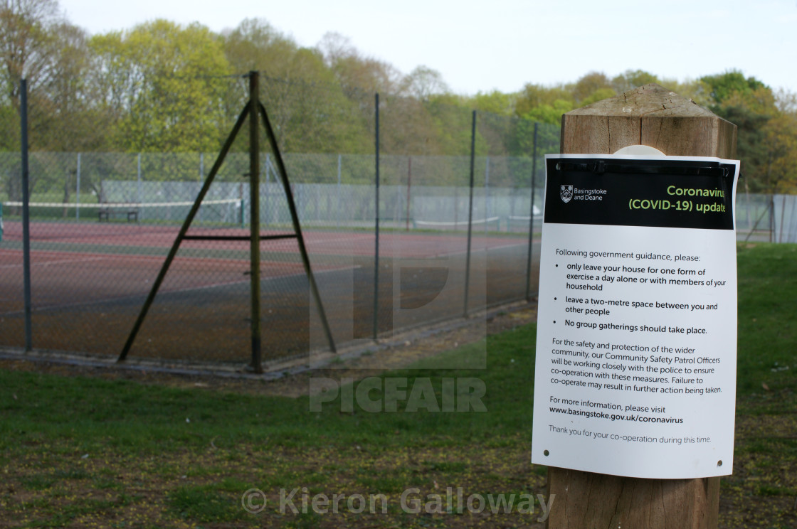 """COVID-19 UK Lockdown Rules Poster First Wave Tennis Court"" stock image"