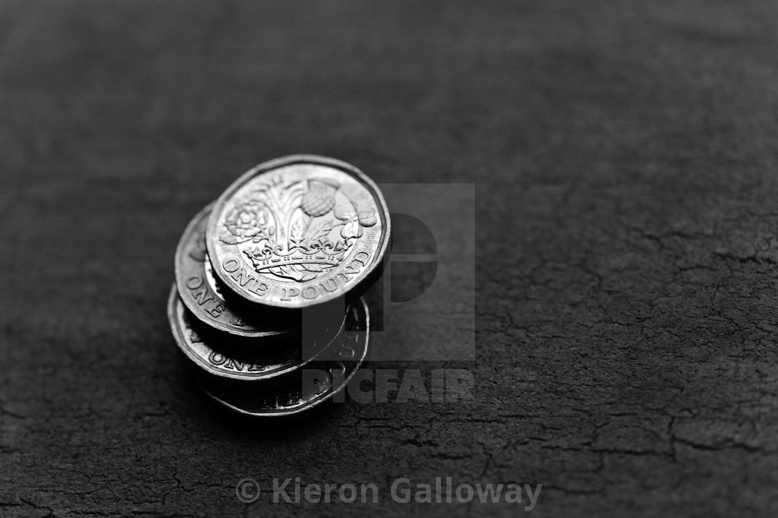 """""""Pound Coin Stack Black and White"""" stock image"""
