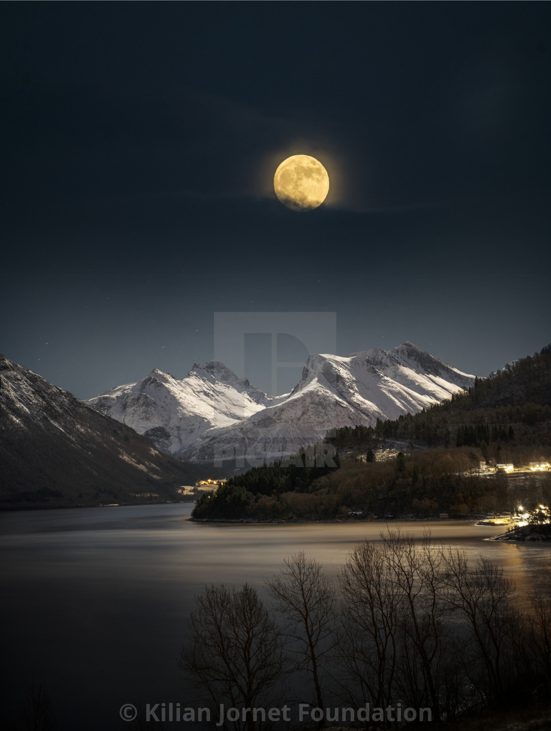 """""""Full moon, fjord and mountains"""" stock image"""