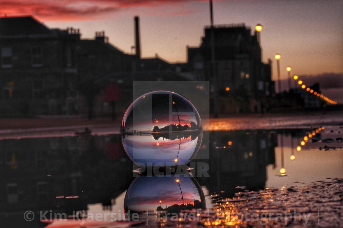 """Reflections on Portobello Beach"" stock image"