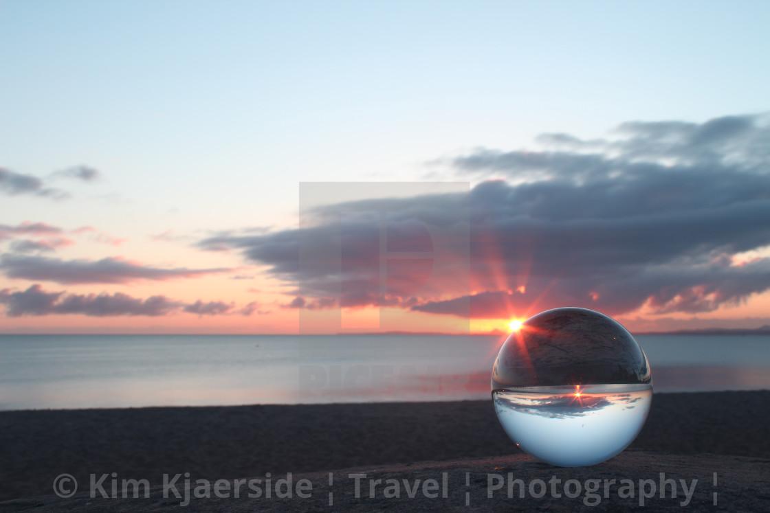 """Beach Sunrise Rays"" stock image"