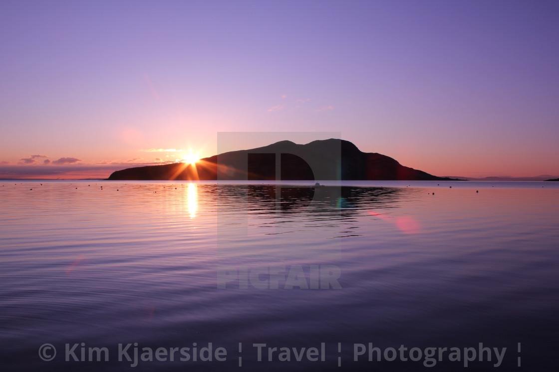 """""""Sunrise over Holy Isle, Isle of Arran"""" stock image"""