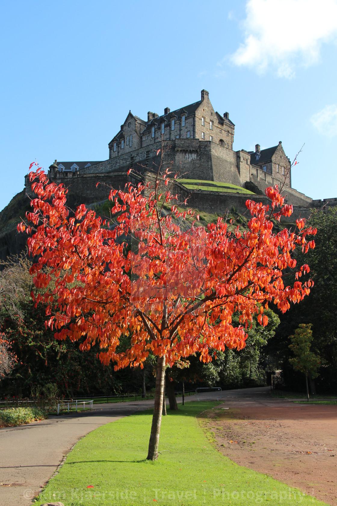 """Edinburgh Castle dressed in Autumn Colours"" stock image"