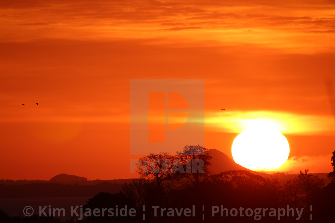 """Sunrise over North Berwick, Scotland"" stock image"