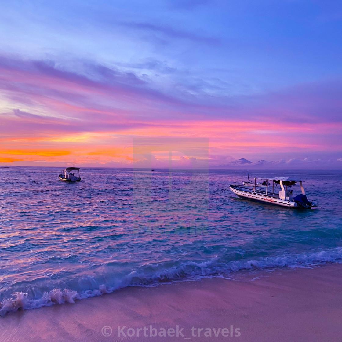 """Magenta Sunset on the Indonesian island of Nusa Lembongan"" stock image"