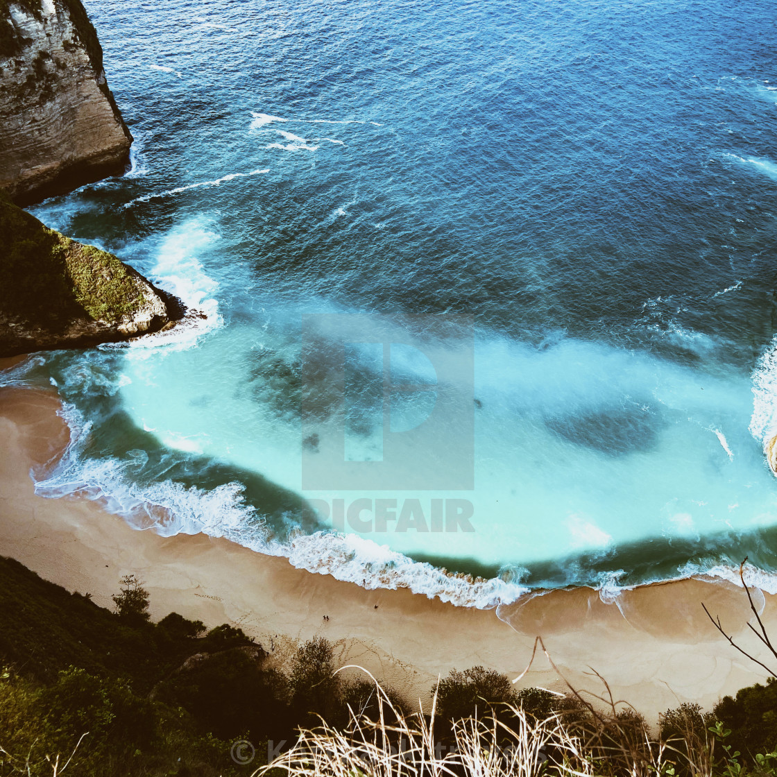 """Kelingking Beach from above - on the small Indonesian island of Nusa Penida"" stock image"