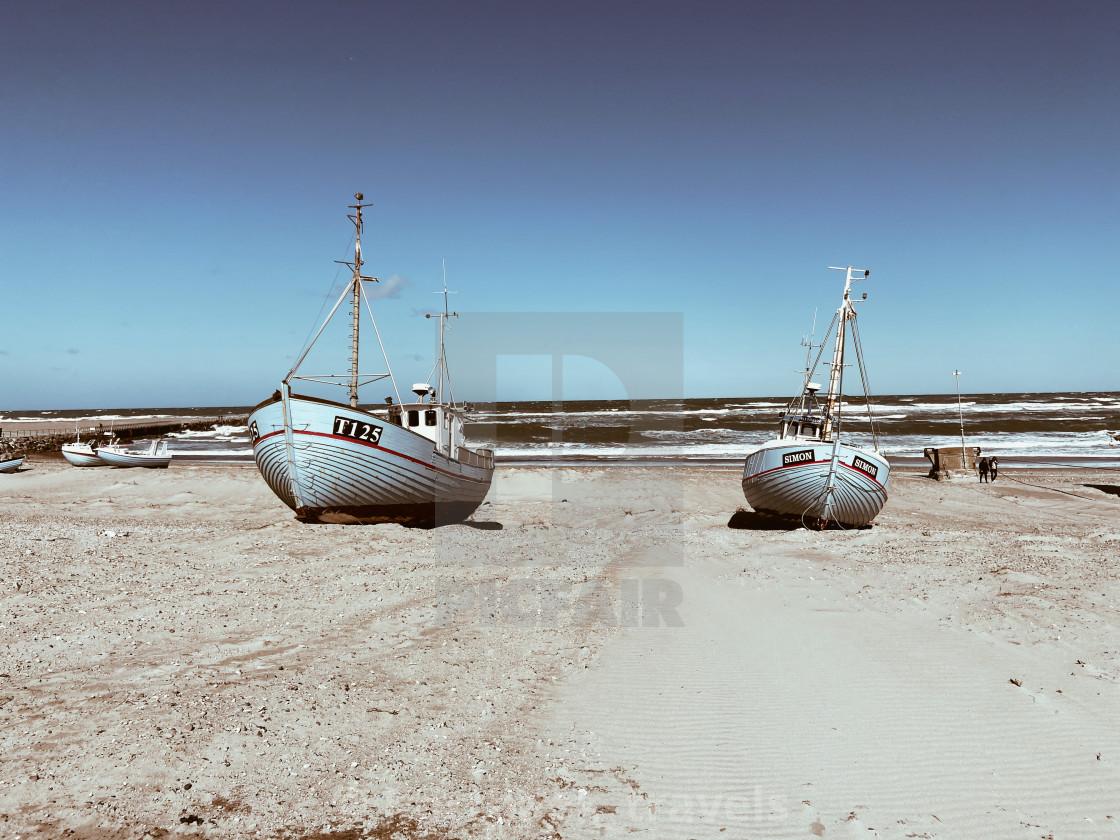"""Trawlers on the Danish west coast"" stock image"