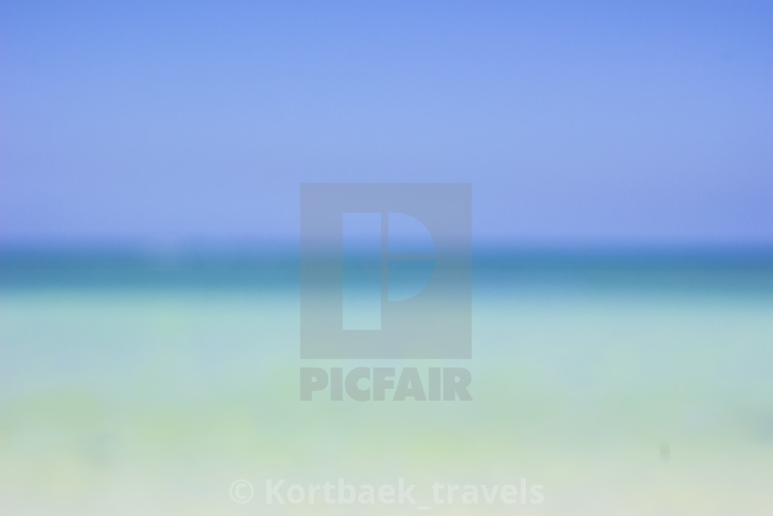 """The blue ocean and sky, Mont Choisy, Mauritius"" stock image"
