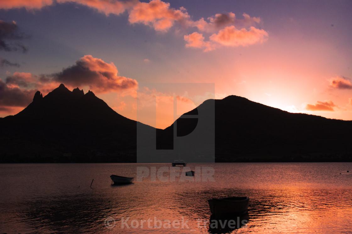 """""""Sunset by Laguna Beach, Mauritius"""" stock image"""