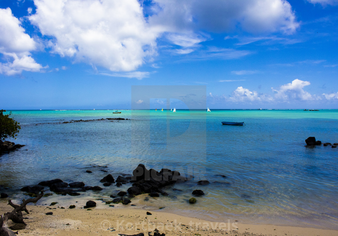 """Mont Choisy Beach (Mauritius) in the morning -"" stock image"