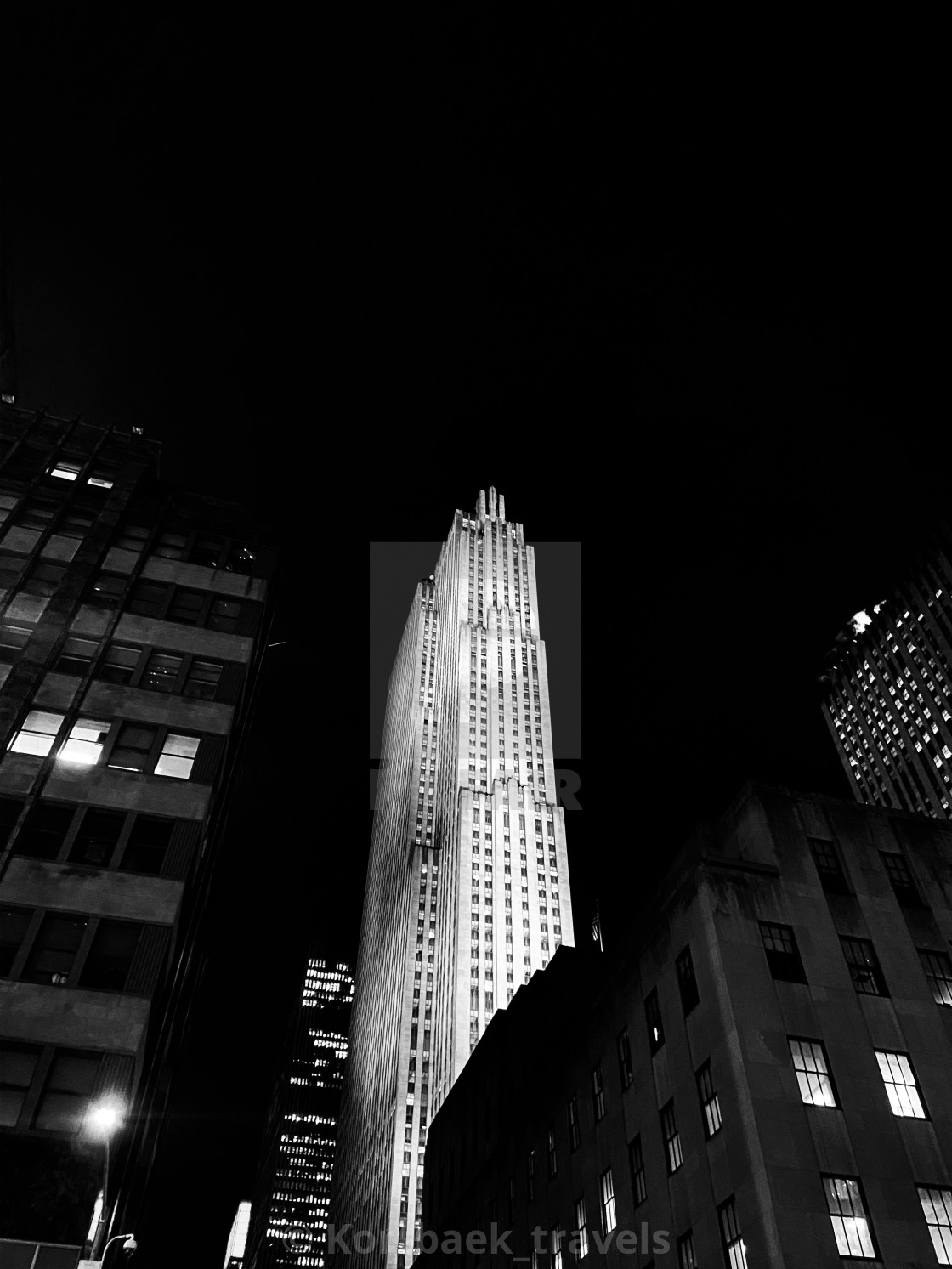 """The Rock, New York, by night"" stock image"