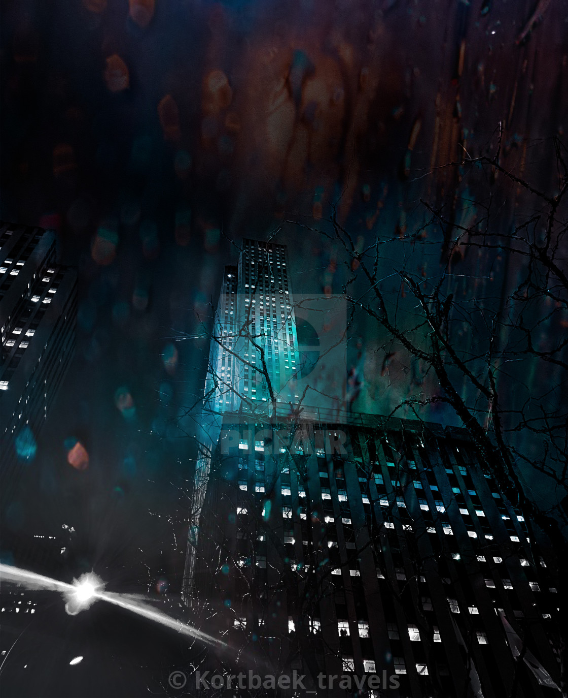 """""""Spooky edit of downtown Manhattan by night"""" stock image"""