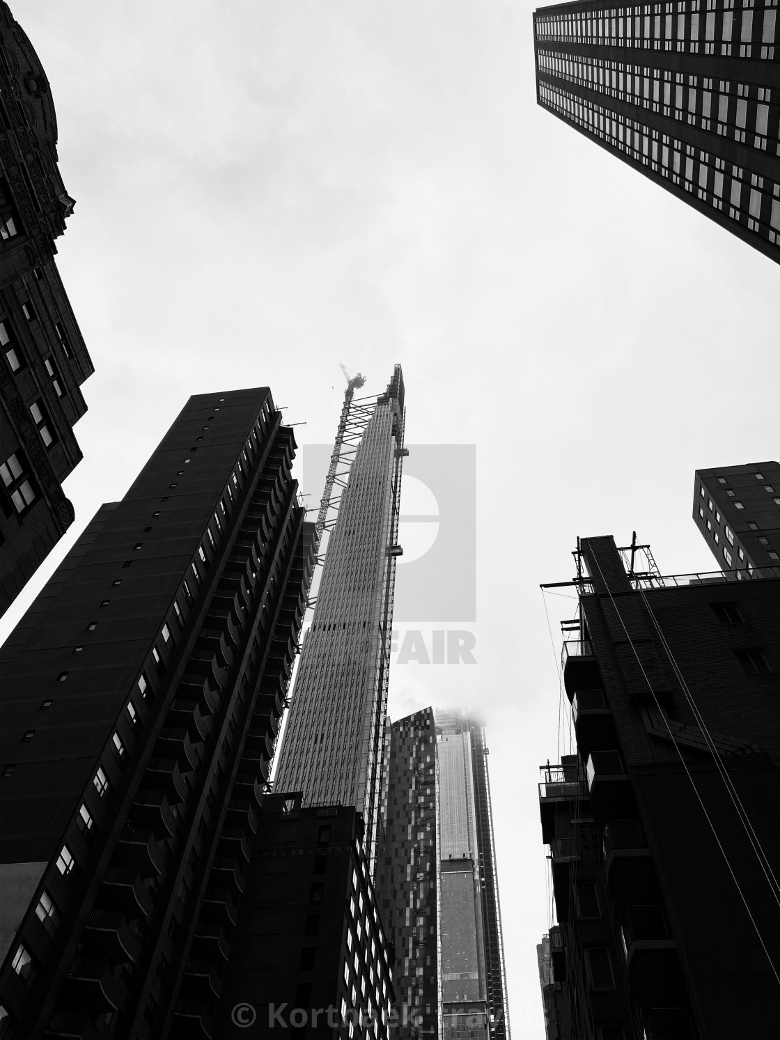 """""""Black and white look-up, Manhattan"""" stock image"""