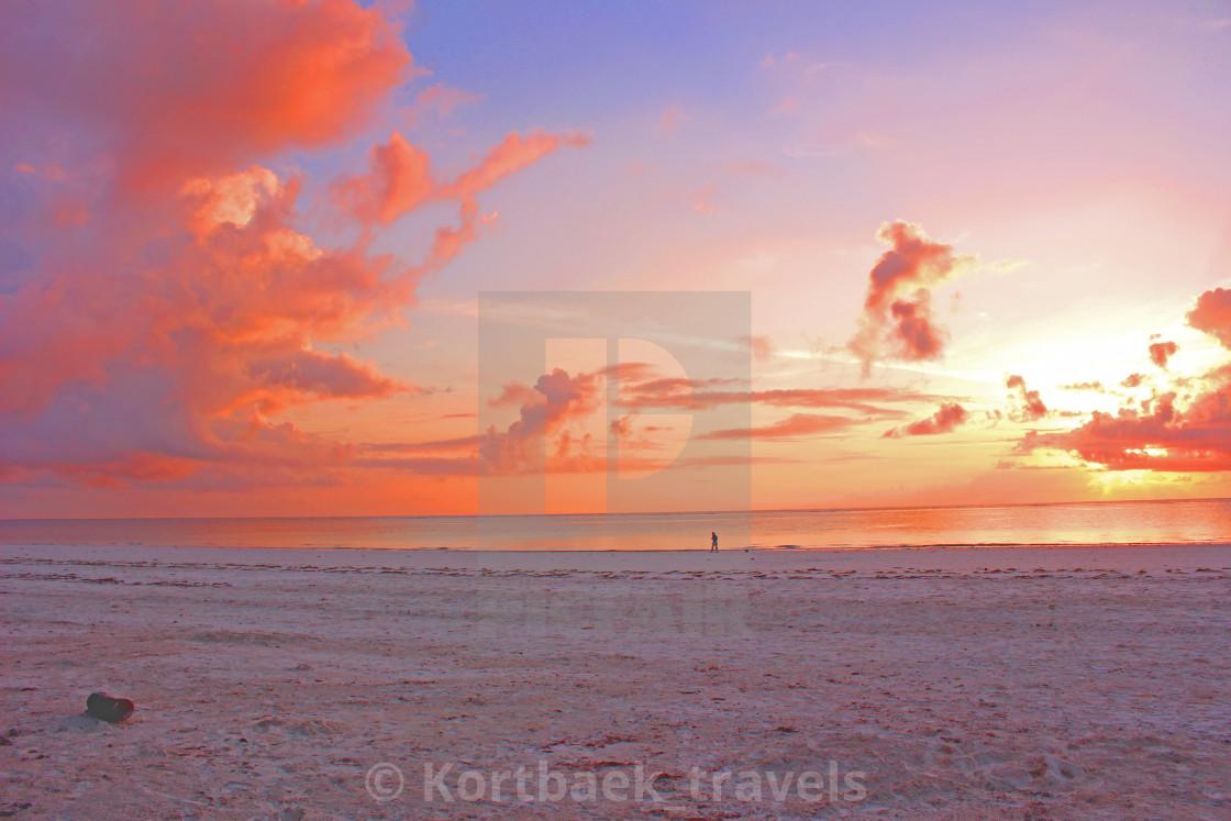 """Sunrise on Galu Beach, Diani, Kenya"" stock image"