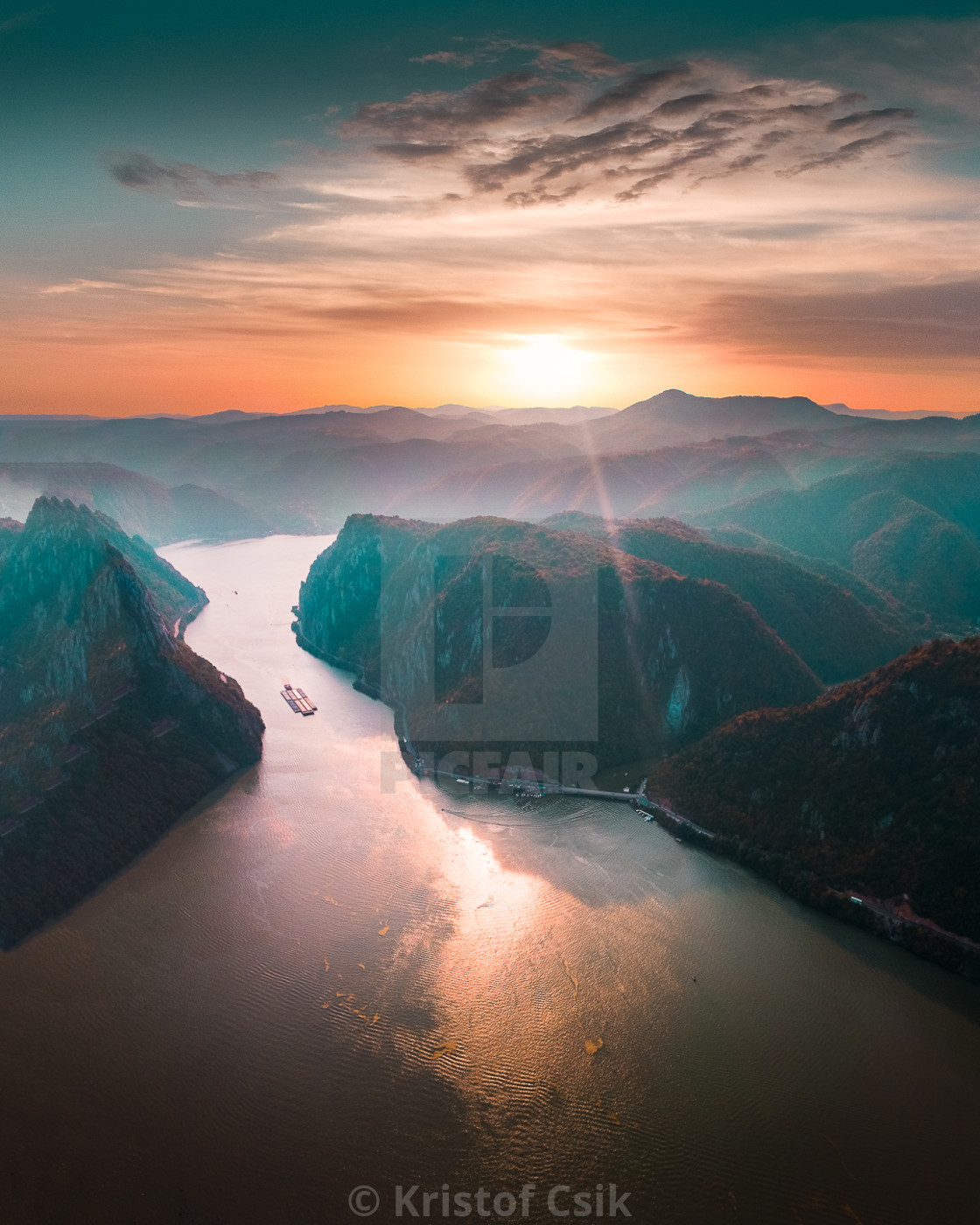 """""""Sunset on the Danube River at Rock Sculpture of Decebalus"""" stock image"""