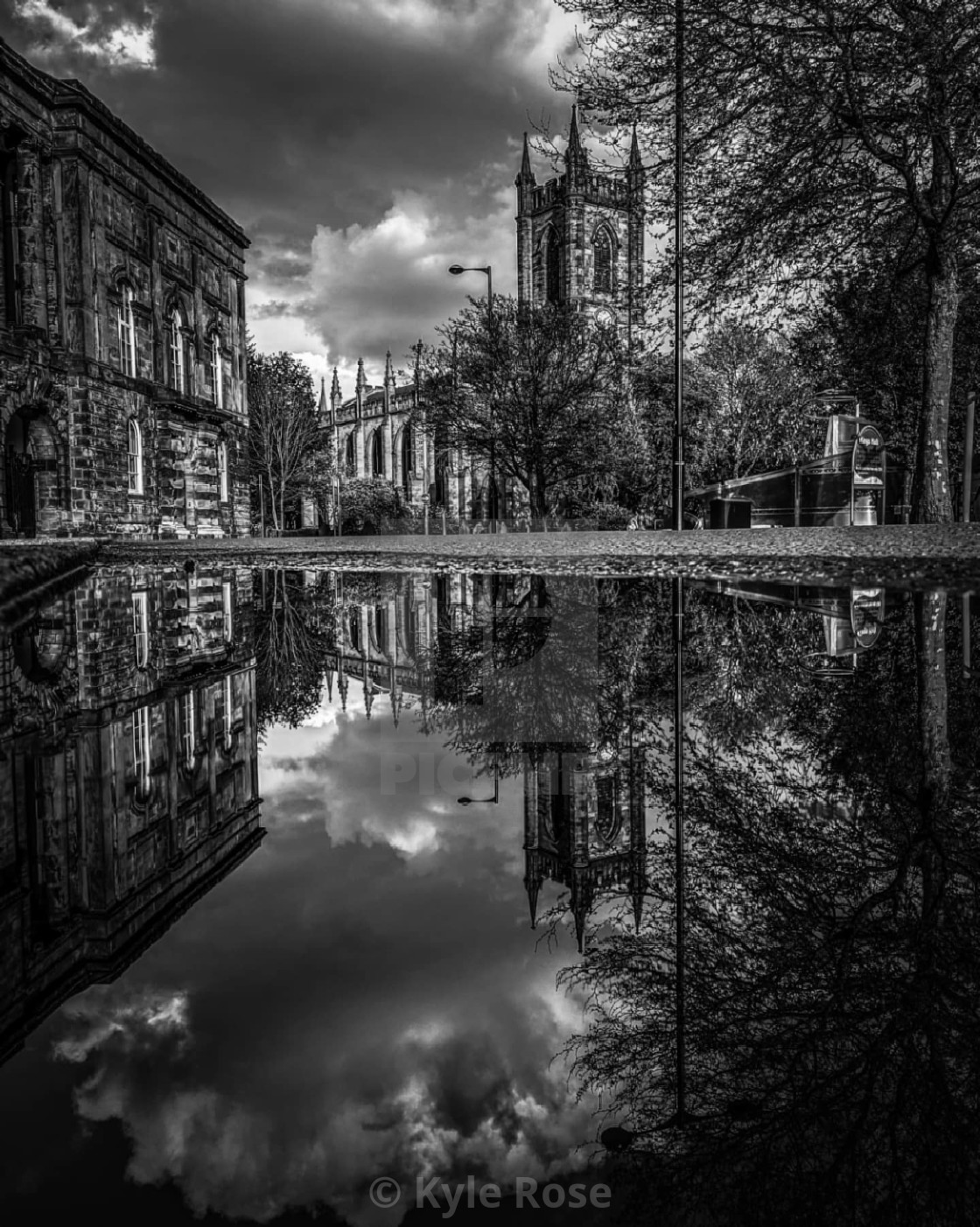 """Stoke Minster Puddle Reflection B&W"" stock image"