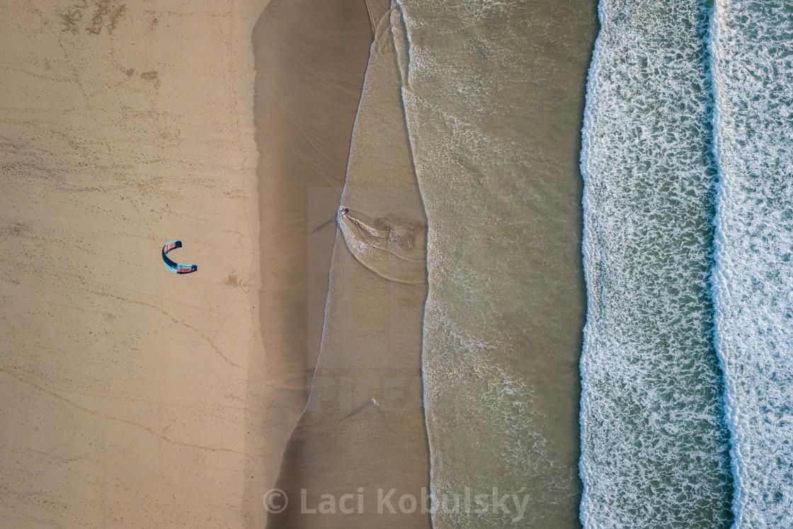 """Kiteboarding beach UK"" stock image"
