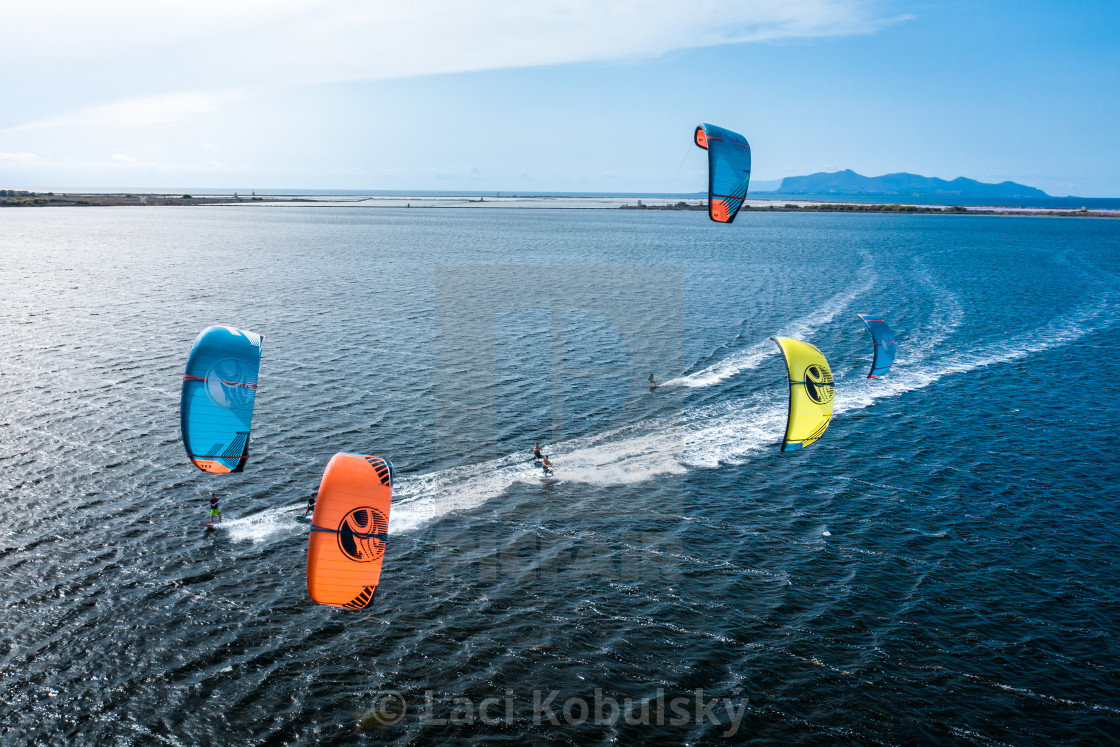 """Kiteboarding team"" stock image"