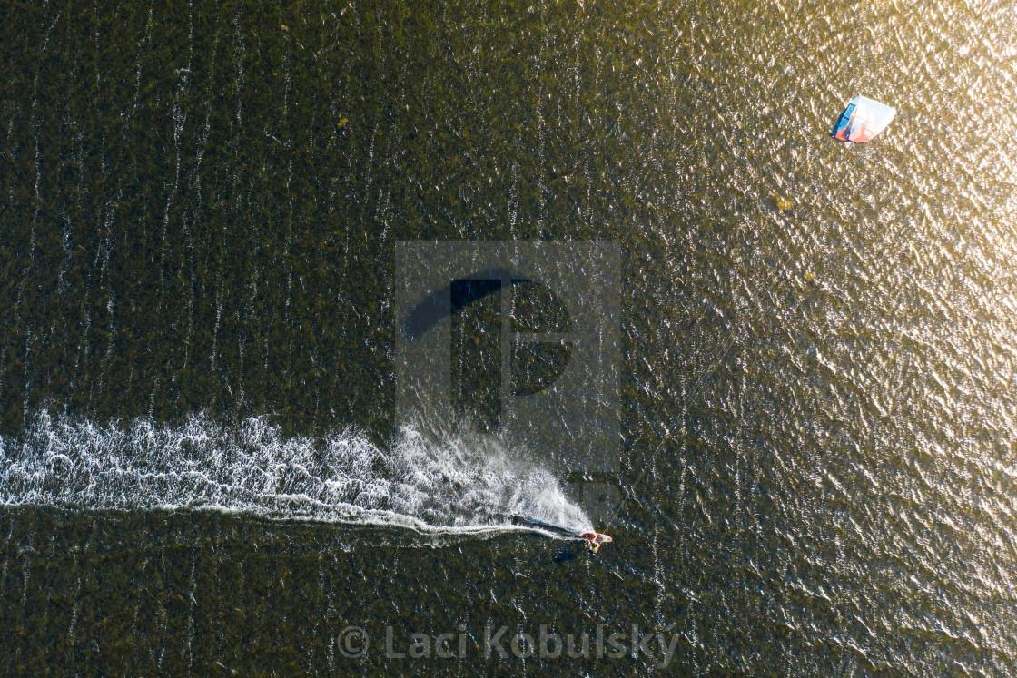 """Kitesurfing sunset"" stock image"