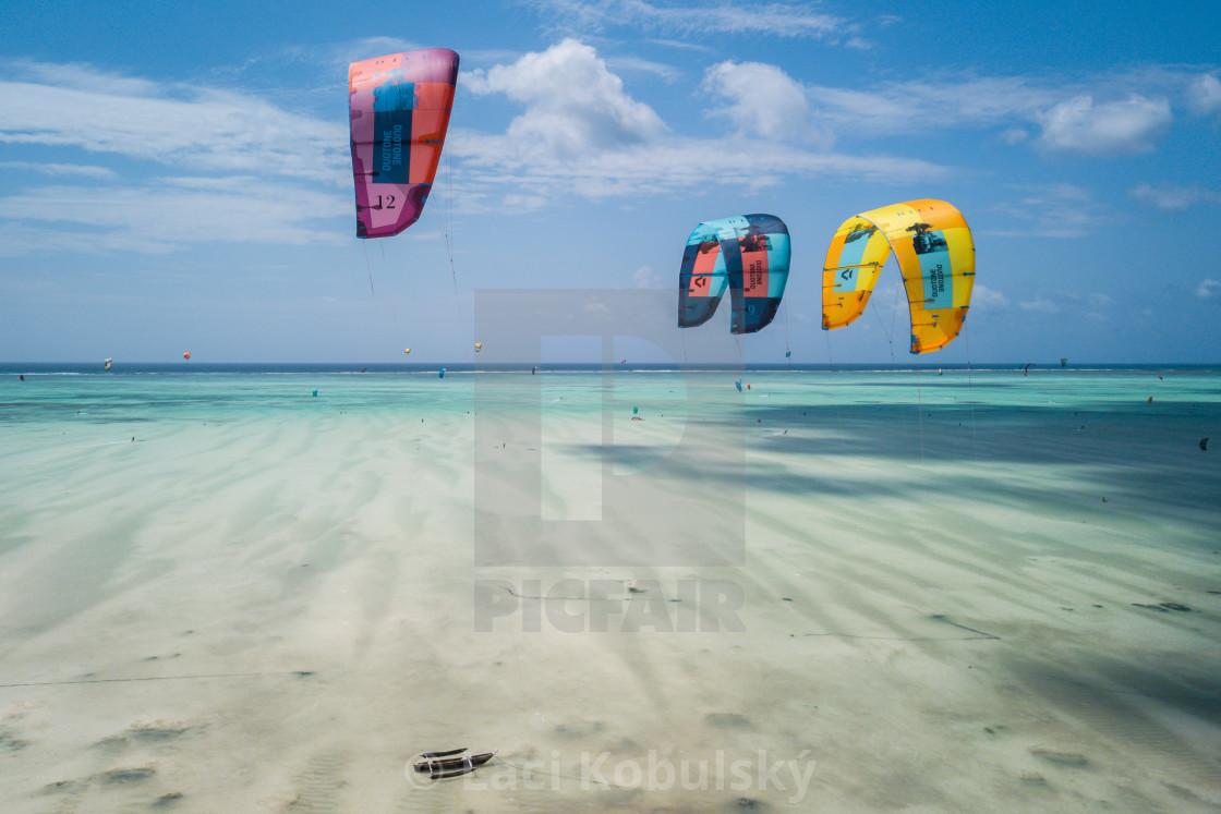 """Kiteboarding Zanzibar"" stock image"