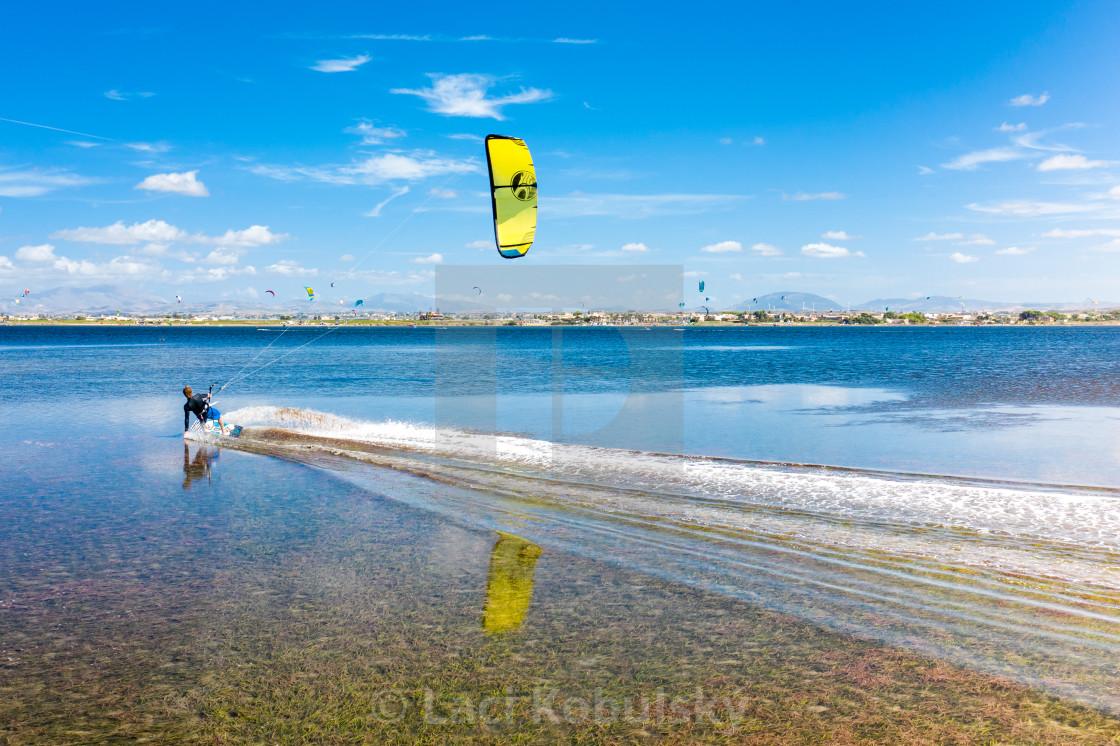 """""""Kiteboarding in Sicily"""" stock image"""