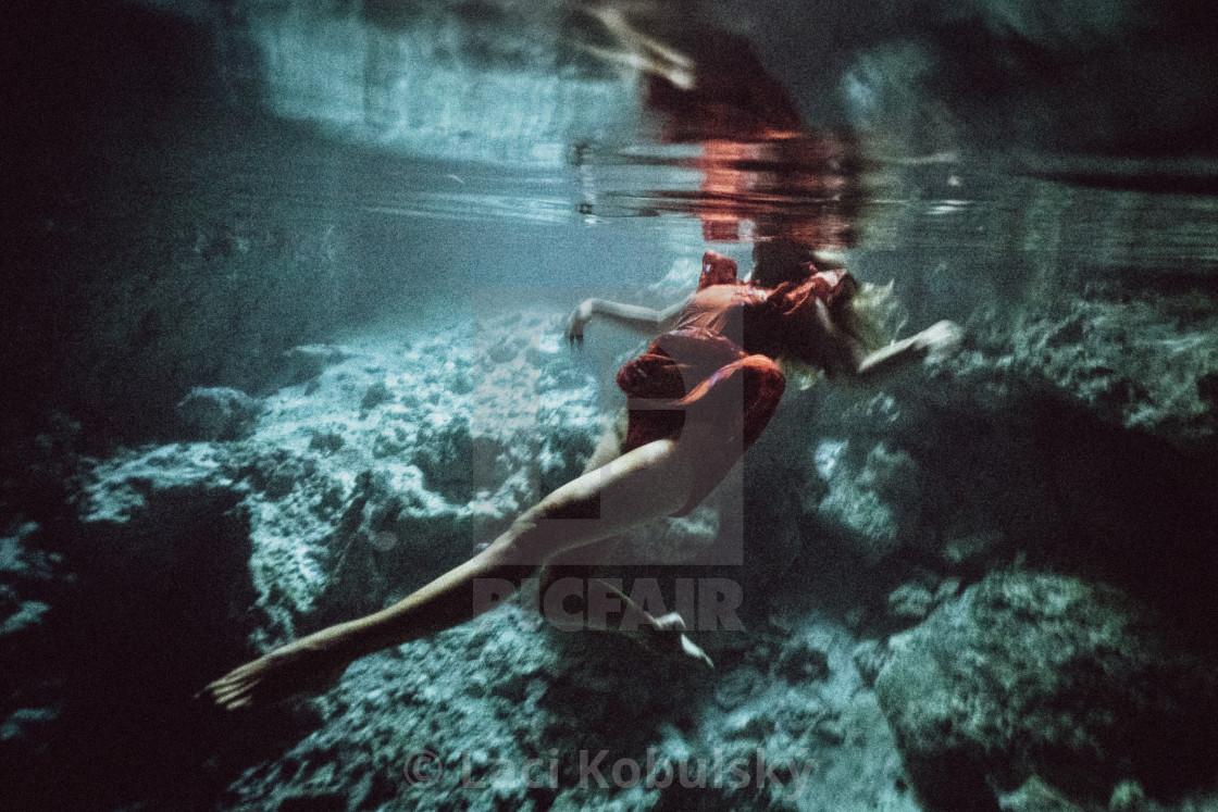 """Girl underwater"" stock image"